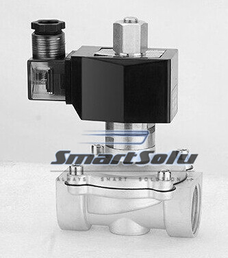 free shipping g3 4 stainless steel solenoid valve 2w200 20 no normally open for acid water air oil dc12v dc24v ac110v Free Shipping 1/2'' Normally Open 2 Way Stainless Steel VITON Solenoid Valve 2S160-15-NO DC12V DC24V,AC110V or AC220V