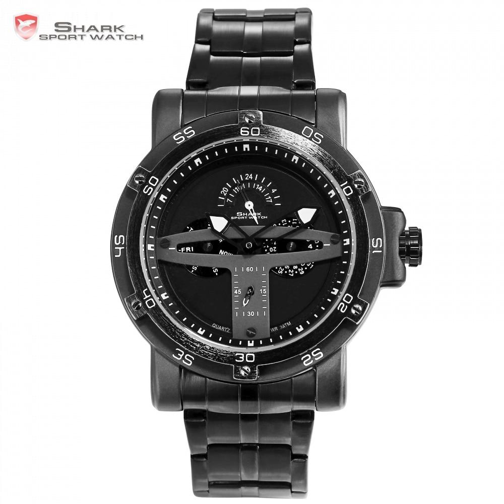 Greenland акула спортивные часы бренд творческий Черный Дата Календарь Водонепроницаемый Сталь Группа Кварцевые Для мужчин часы Masculino Relogio/SH426