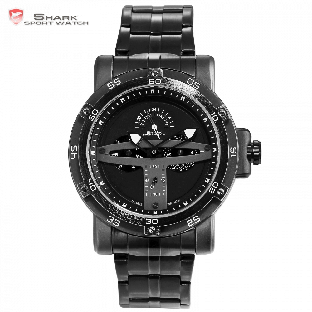 グリーンランドサメスポーツブランドのクリエイティブ黒日付カレンダー防水スチールバンドクォーツ男性腕時計 Masculino レロジオ/SH426  グループ上の 腕時計 からの クォーツ時計 の中 1