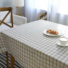 Modern Simple Grey Lattice Waterproof Print Tablecloth Cotton Thicken Rectangular Table Cover Home Kitchen Decor tafelkleed Hot