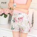 2017 Moda verão mulheres Senhoras bottoms calças casual shorts feminino flor padrão floral elastic cintura alta das calças curtas