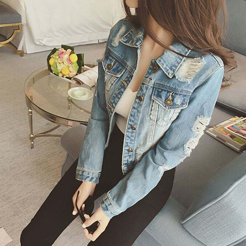Women Jeans Jacket Denim Coat Casual Outerwear Tops Autumn Long Sleeve Frayed Vintage Jeans Coat Female Chaquetas Mujer DP930966 1