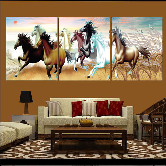 Us 4 88 35 Off Frameless Animal Painting Canvas Wall Paintings Horse Pattern Modern Style Suitable Living Room Study Interior Decoration Horse In
