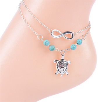 Antique Silver Sea Animal Turtle Charm Chain Ankle Bracelet