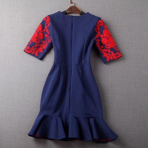 60a2e8a687 2015 jesień zima projektant sukienki damskie ciemny niebieski trąbka  syrenka czerwony kwiat hafty mody rocznika strój impreza marki w 2015  jesień zima ...