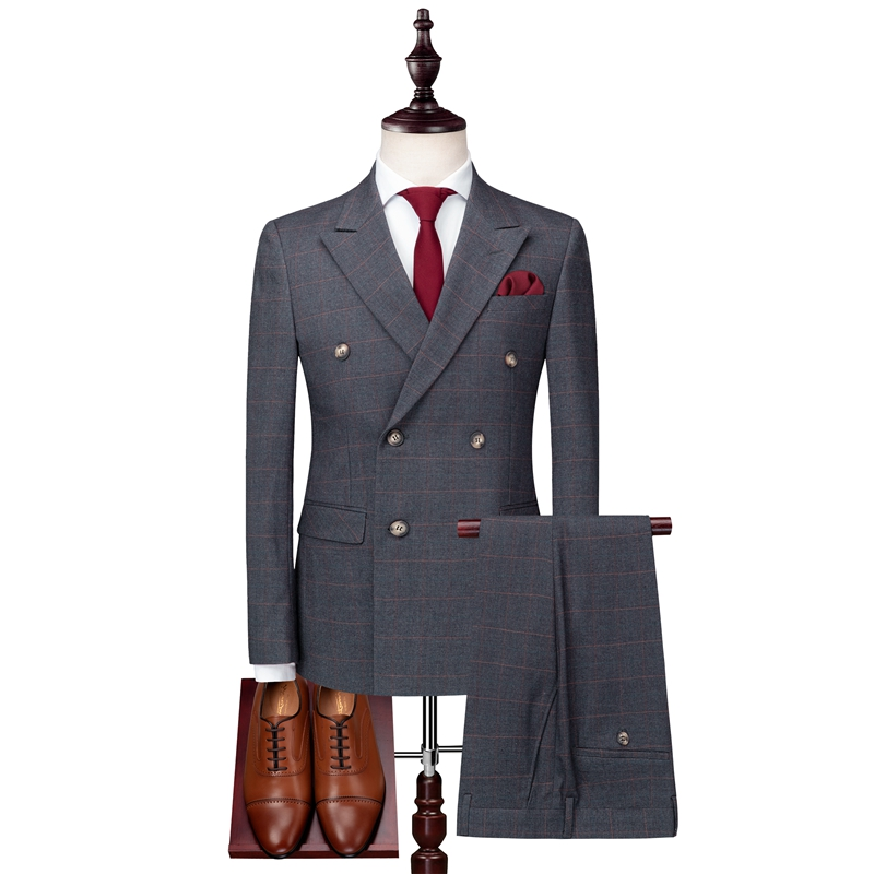 Grey Men's Plaid Suit 3 Piece Set (Jacket + Vest + Pants) Size S-3XL High Quality Dress Male