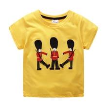 где купить Children clothing 100% cotton short-sleeved T-shirt boy yellow shirt T-shirt round neck child soldier suit summer 2019 new shirt по лучшей цене