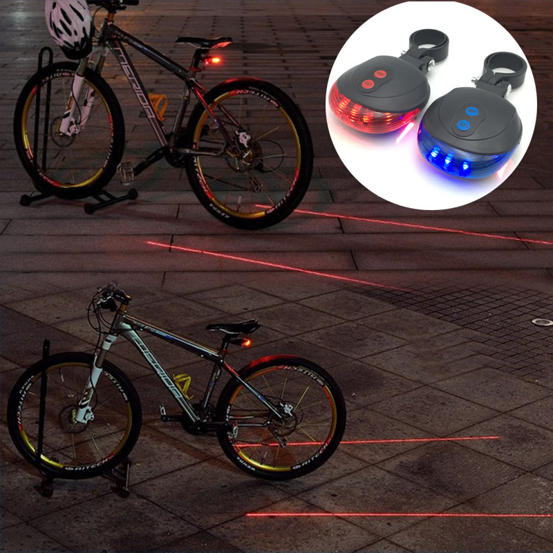 LED Bicycle Bike Light Night Mountain 5 LED 2 Laser Tail Light MTB Safety Warning Bicycle Rear Light Lamp Bike Accessories
