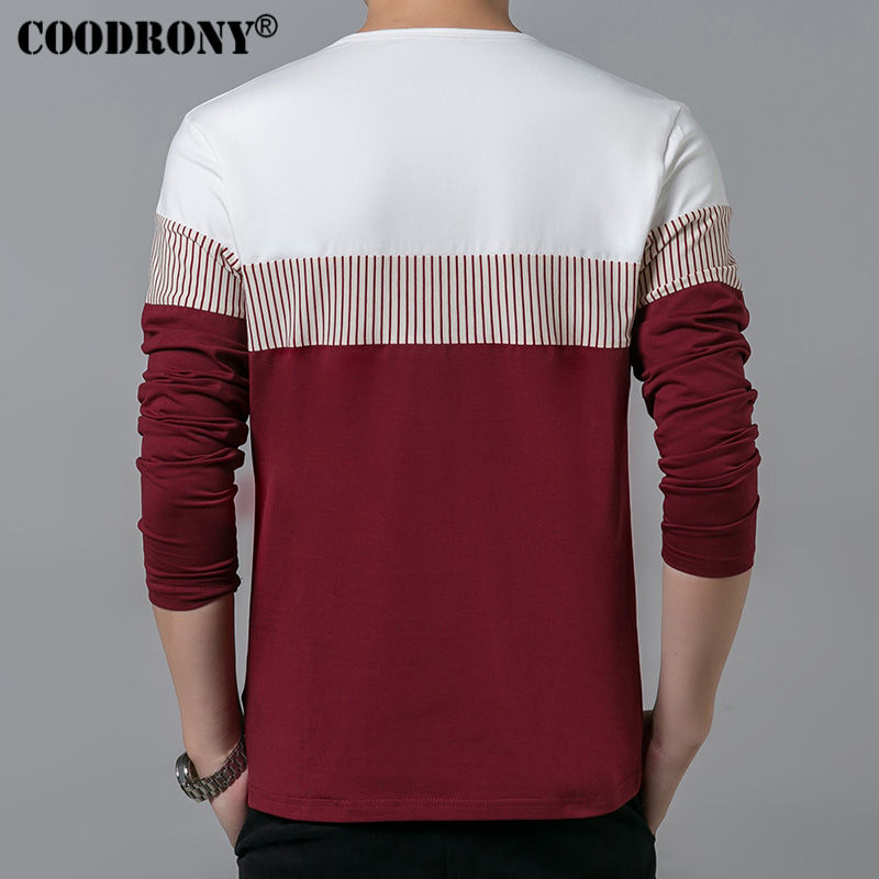 COODRONY T-Shirt Men 2019 Spring Autumn New Long Sleeve O-Neck T Shirt Men Brand Clothing Fashion Patchwork Cotton Tee Tops 7622 3