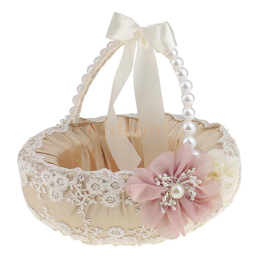 Wedding Baskets For Flower Petals : Beige satin lace pearls bowknot handle wedding ceremony