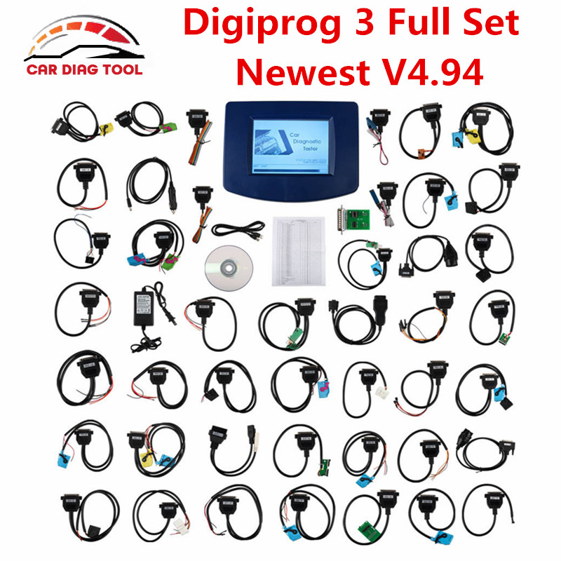 Prix pour Top Digiprog III V4.94 Digiprog3 FTDI Correction D'odomètre Outil DP3 Digiprog 3 Kilométrage Programmeur Ensemble Complet Avec ST01 ST04 Câble