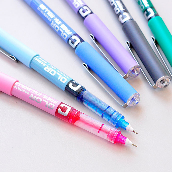 CHENG PIN 1Pc 0.38mm Needle Simple Style Straight Liquid Gel Pen Fluent Color Writing Pilot High-grade Office Writing Stationery