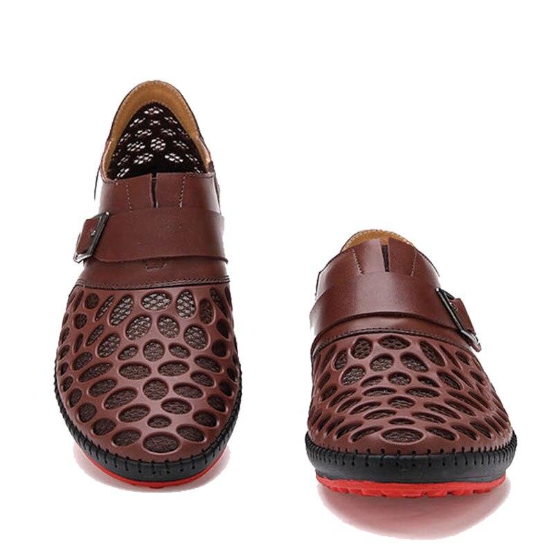 Moda 2018 brown Novos Verão Respirável on Black Casuais Sandálias Baixos Mens Malha Couro gray Slip Homens De Dos Homens's Ocas Mocassins blue Sapatos 8r8w1q