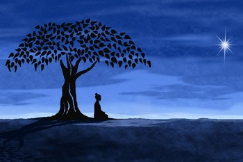 Buda budista meditación árbol Luna cartel de ilustraciones impresión tela de seda decoración de pared