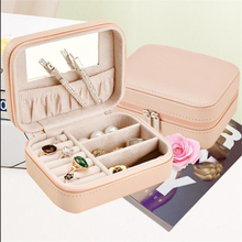 Fashion Leather Ring Case Display Jewelry Box Storage with Mirror Mini Gift Space-saving Holder Portable