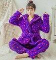 Махровый Халат Взрослых Зима теплая синий Звезды Пижамы Наборы Пижамы Костюмы в Шляпе Банные Халаты Халаты Женщины Халат С Капюшоном