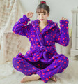 Plush Robe Adult Winter warm blue Stars Pajamas Sets Sleepwear Suits With Hat Bath Robes Dressing Gowns Women Hooded Bathrobe