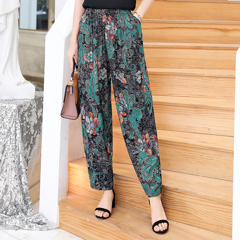 2019 New Summer Pants Women Vintage Elastic Waist Print Floral Elegant Trousers Female Casual Wide Leg Pants Plus Size XL-5XL Price $16.60