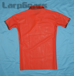 Image 2 - Red with Black Latex Mens Polo Shirt Short Sleeves Latex Rubber Tee Plus Size XXXL