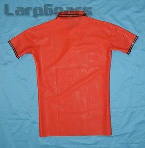 Image 2 - Rojo con látex negro para hombre Polo de manga corta de goma de látex camiseta de talla grande XXXL