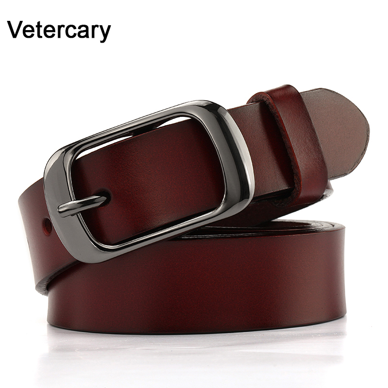 Fashion Cow Leisure Belt Real Leather Black Pin Alloy Buckle Young Belt Genuine Leather Women Belts Cowskin Strap Jeans Students