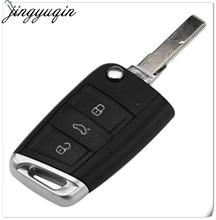 Jingyuqin 10 قطعة 3 أزرار للطي قلّاب مفتاح السيارة عن بعد غطاء علبة فوب ل VW Golf 7 GTI MK7 مقعد سكودا اوكتافيا A7