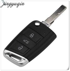Image 1 - Jingyuqin 10 adet 3 düğmeler katlanır çevirme uzaktan araba anahtar kapağı kılıfı Fob VW Golf 7 GTI MK7 Skoda Octavia A7 koltuk