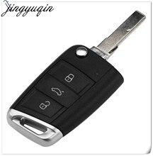 Jingyuqin-clé pliable 3 boutons | Pour télécommande VW Golf 7 GTI MK7 Skoda Octavia A7 siège, pièces 10
