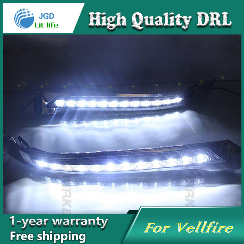 Free shipping !12V 6000k LED DRL Daytime running light case for Toyota Vellfire 2008-2012 fog lamp frame Fog light Car styling cawanerl for toyota highlander 2008 2012 car styling left right fog light led drl daytime running lamp white 12v 2 pieces