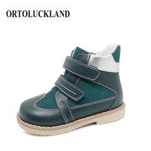 Ortoluckland/детская повседневная обувь из натуральной кожи; ботинки на плоской подошве; детская ортопедическая обувь на молнии; Дизайнерские ботильоны для мальчиков; Новинка
