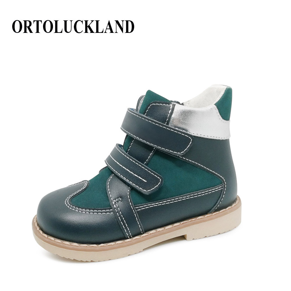 New Model Kids Genuine Leather Casual Shoes Flat Feet Boots Children Boy Orthopedic Leather Shoes With Zipper Design edging design bleach wash zipper fly narrow feet slimming men s jeans