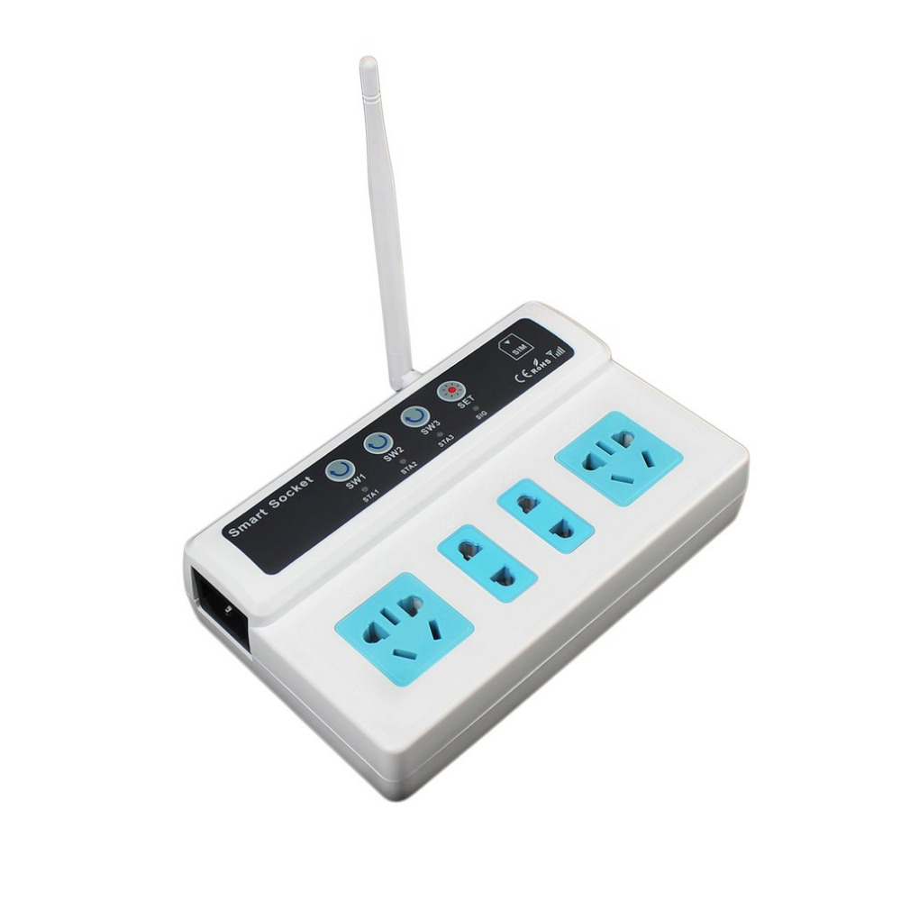 Promotion 3 Sockets Remote Control Socket  Mobile Phone GSM SIM Remote Control Wireless Smart Socket SwitchHot New Arrival