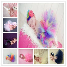 Princess Plum Peacock Feather Tutu Skirt with Vintage Headband Newborn Photography Props Baby Tutu Shower Gift