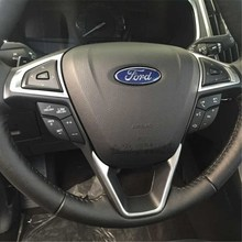 Car Interior Abs Chrome Trim Steering Wheel Cover Accessories For Ford Edge
