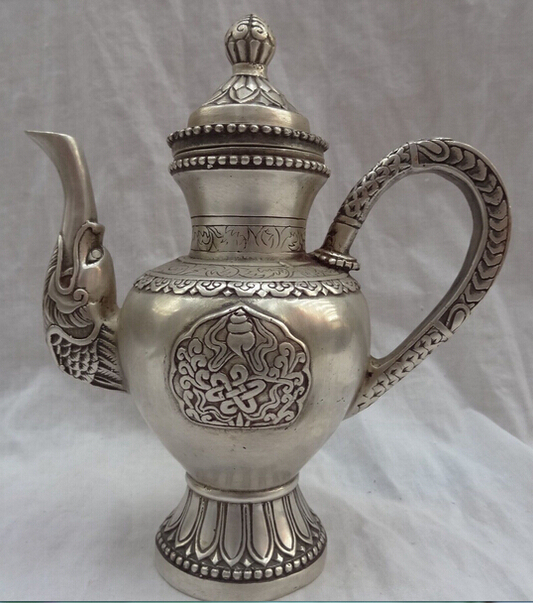 Collection décoré vieux travail manuel Tibet argent sculpté théière Flgon livraison gratuite