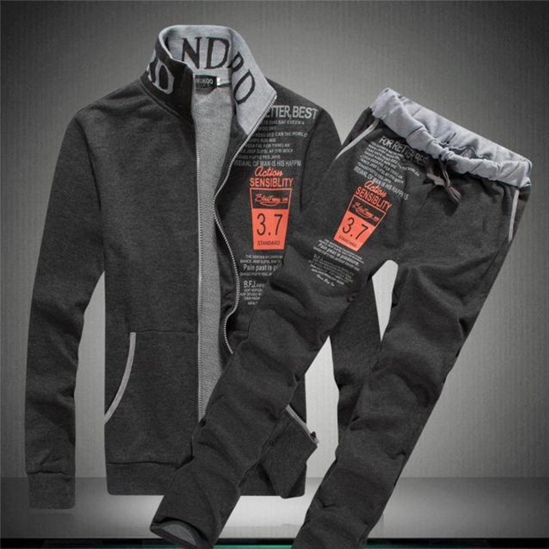 Image 4 - Sportswear New Men Tracksuit Set Winter Fleece Hooded Zipper Jacket+Pants Sweatshirts 2 Piece Set Hoodie Sporting Suit Coat Set-in Men's Sets from Men's Clothing