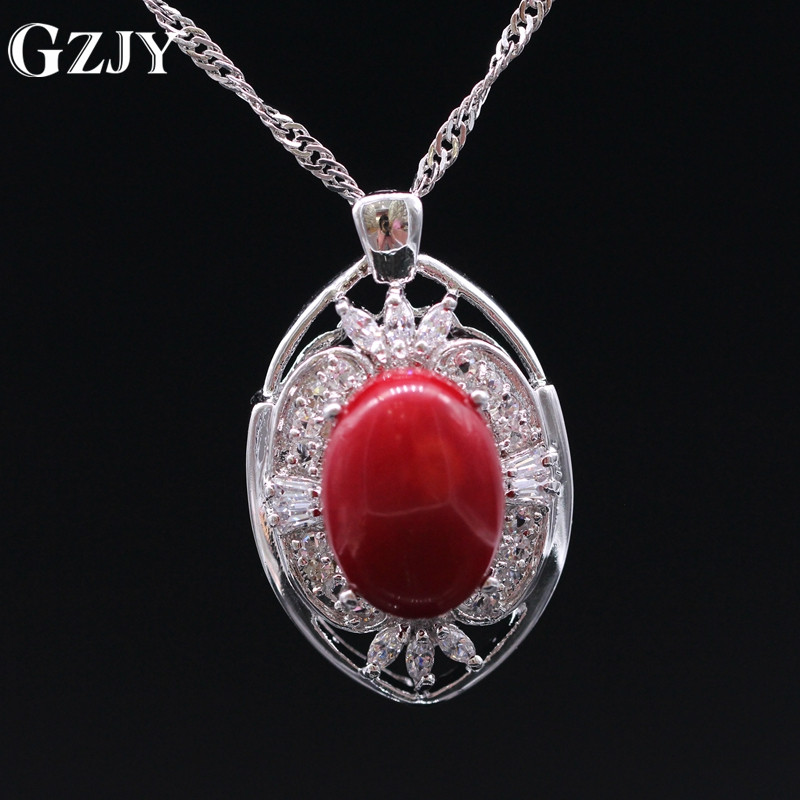 GZJY Beautiful Jewelry Natural Red Coral Pendant AAA Zircon Gold Color Necklace Pendant For Women Gift