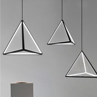 Small Triangle Modern LED Pendant Light Nordic Dimmable Black Hanging Lamp Suspension Luminaire Kitchen Living Room Bed Bedroom