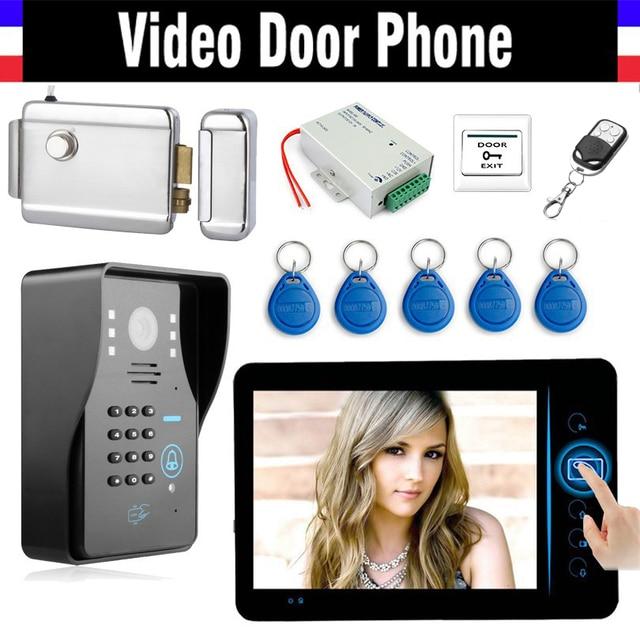 "7"" Wireless Video Doorbell Kit  Video Intercom Door Phone with Code RFID Keyfob Electronic Lock wireless controller Exiit Button"