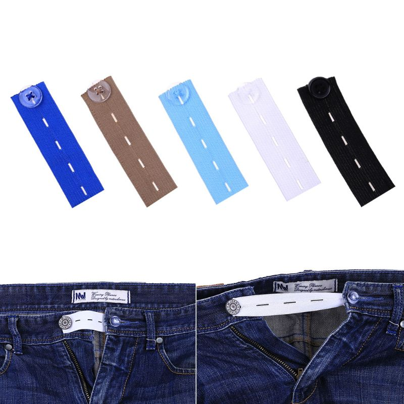 1Pc Maternity Waistband Pants Belly Rubber Band Belt Skirt Trousers Waist Expander Buttons Adjustable Elastic Extender