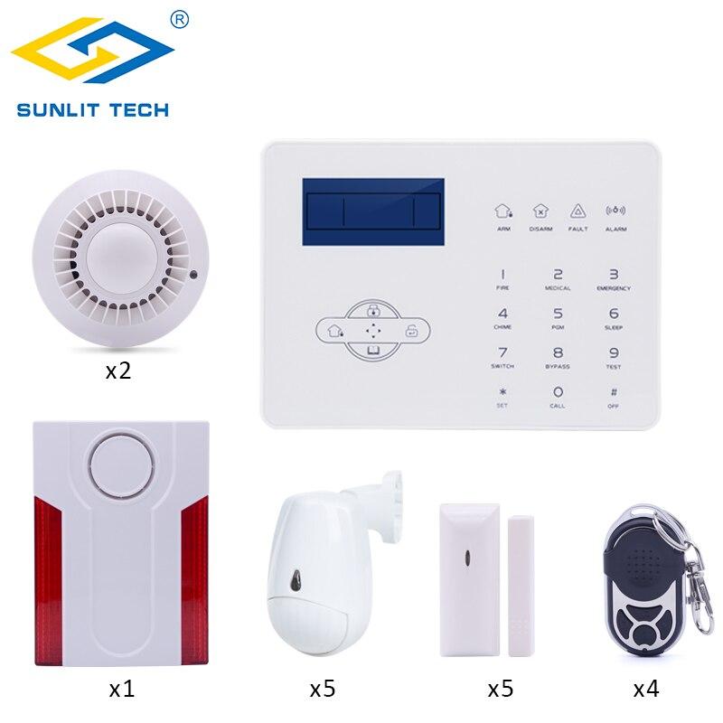 Mise au point sans fil GSM PSTN système d'alarme PIR capteur de mouvement détecteur de fumée incendie APP télécommande 433 MHz maison intelligente cambrioleur sécurité