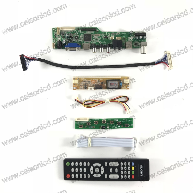 M6-V5.1 <font><b>LCD</b></font> <font><b>TV</b></font> controller <font><b>board</b></font> support <font><b>HDMI</b></font> <font><b>VGA</b></font> AUDIO <font><b>AV</b></font> <font><b>USB</b></font> <font><b>TV</b></font> for 20 inch 1600x900 <font><b>lcd</b></font> panel 2-lamp LTM200KT03 M200RW01 V0 V1 image