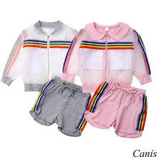 8b5b9f146 Crianças Baby Girl moda 3 pcs Íris Define manga longa com zíper Casaco +  Camis Vest + shorts Sunsuit UV Roupas conjunto agasalho.