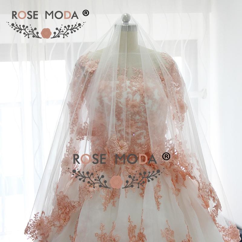 Rose Moda Long Sleeves White Ivory Wedding Dress with Blush Pink ... 33ee7ba99ecc