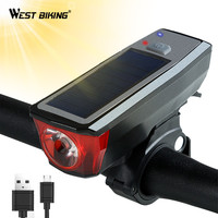 WEST BIKING Bicycle Front Light Solar Powered With Bell Flashlight 350 Lumens Waterproof USB Rechargeable Torch
