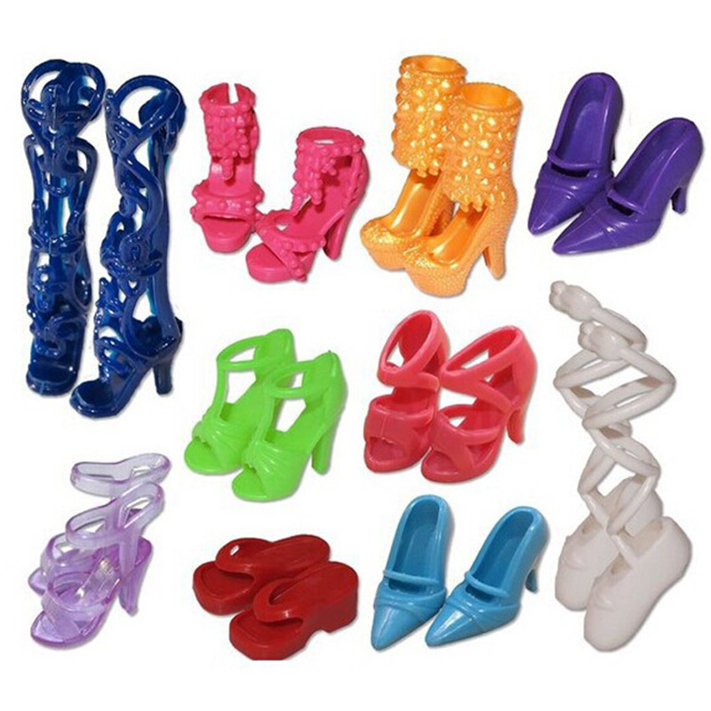 20Pcs 10 Different Styles High Heels For Doll Play House Toys For Baby Girls Doll Lifestyle Accessories Gifts For Kids