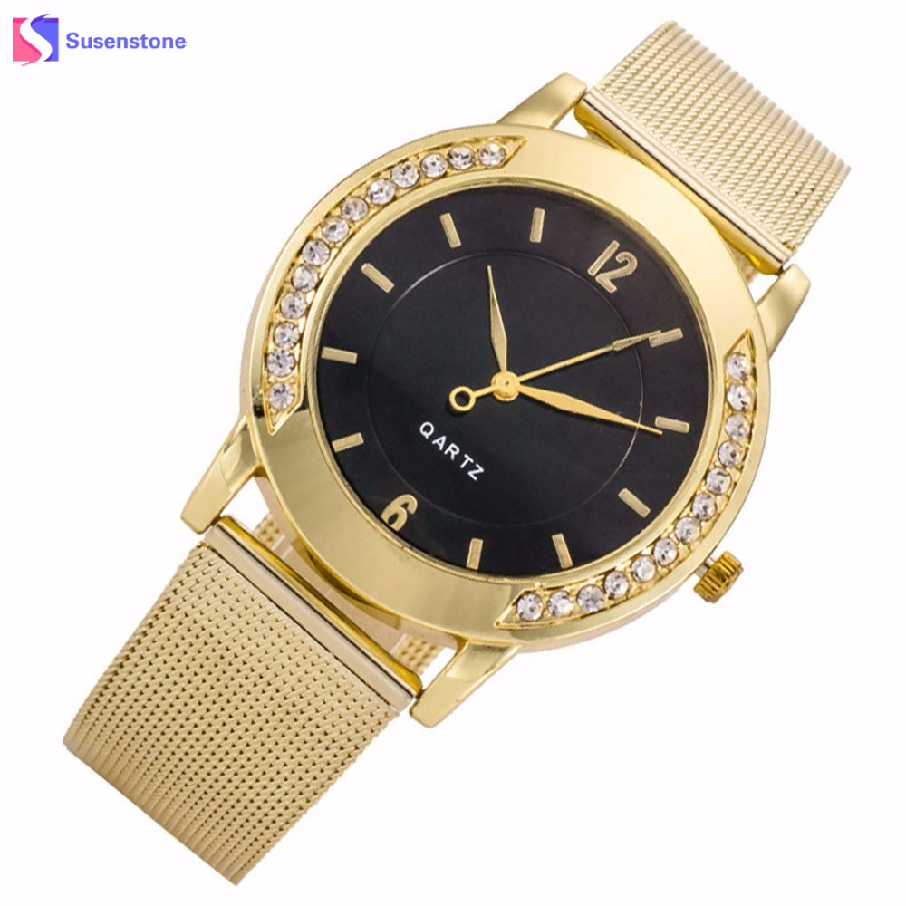 205bc43d12a Moda marca de lujo mujer relojes 2018 reloj de oro de cristal de acero  inoxidable analógico cuarzo reloj Relogio feminino montre femme