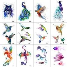 Фотография WYUEN 12 PCS Bird Hummingbird Temporary Tattoo Sticker for Women Men Body Art Adults Waterproof Hand Fake Tatoo 9.8X6cm W12-13