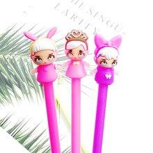 1pc Cute Kawaii Novelty Doll Gel Pen Fashion Cartoon Girl Black Ink Pen For Kids Gift Creative School Stationery