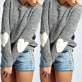 Fashion Winter Women Sweater Sleeve Heart Prints Warm Knitted Christmas Sweater Pullover Pull Femme Hiver Sweaters S-XL Gray New